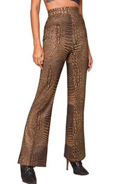 MAKEMECHIC Crocodile Print Flare Pants