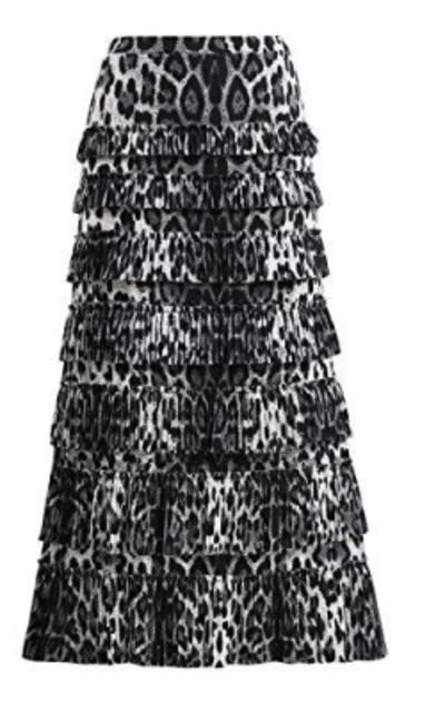 GATHY Pleated Ruffles Maxi Skirt