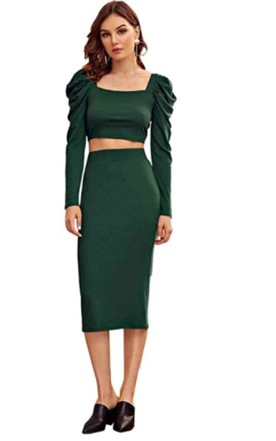 MAKEMECHIC Ruffle Sleeve Crop Top with Knit Skirt Set 2 Piece Outfit