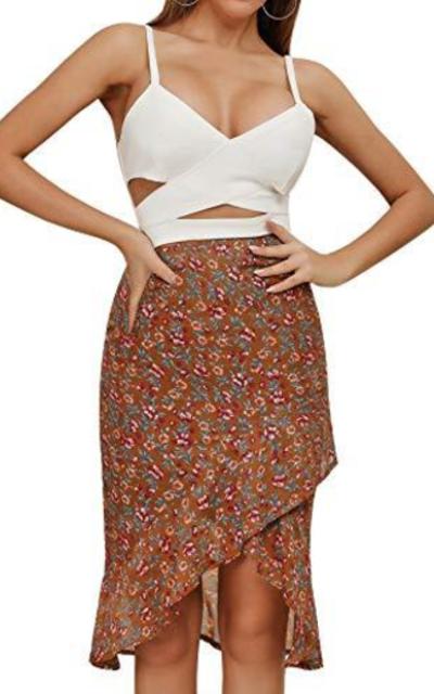 Relipop Floral Print High Waist Wrap Ruffle Hem Midi Skirt