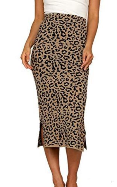 Fargeous Stretch Knit Midi Pencil Skirt