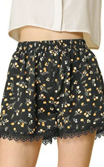 Allegra K Allover Floral Printed Lace Shorts