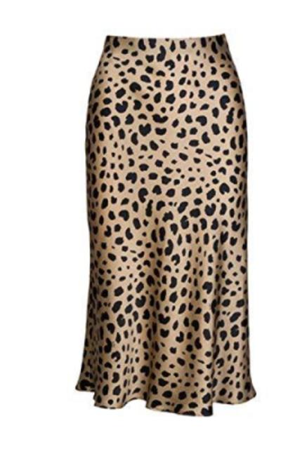 Pajamasea High Waist Leopard Midi Skirt