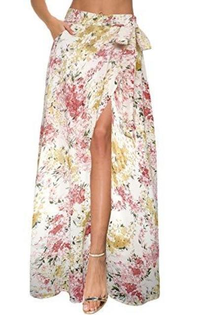 Afibi Flowy Chiffon Wrap Split Maxi Skirt