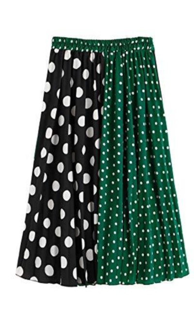 SheIn Color Block Polka Dot Skirt
