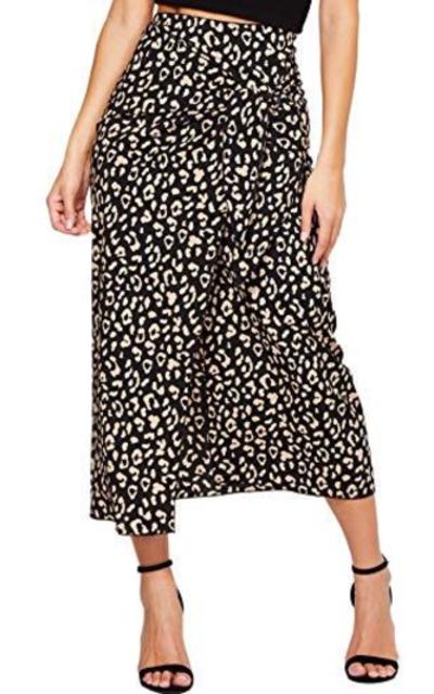 WDIRARA Leopard Print Mid Waist Tie Wrap Maxi Skirt