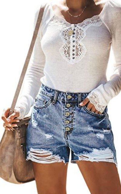 Sidefeel Ripped Denim Jean Shorts