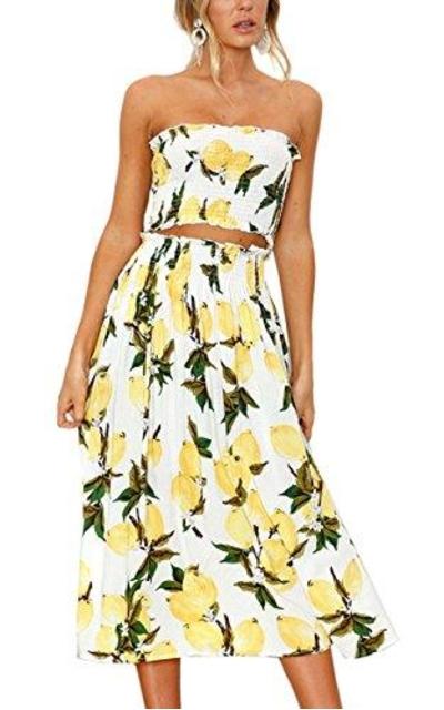 Angashion Floral Crop Top Maxi Skirt Set 2 Piece