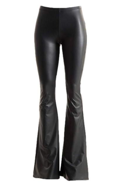 2a258a1c1d288 Vegan Leather Bell Bottom Flare Pants