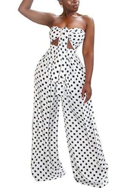 LKOUS Polka Dot Off Shoulder 2 Pieces Outfit