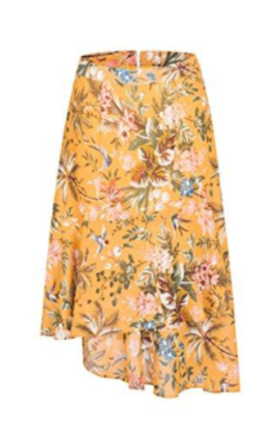 Tronjori A Line Floral Print Skirt