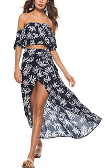 Moxeay Floral Print 2 Piece Crop Top Split Maxi Skirt Set