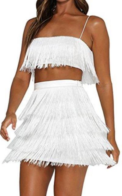 UONBOX  2 Pcs Mini Tassel Bandage Dress