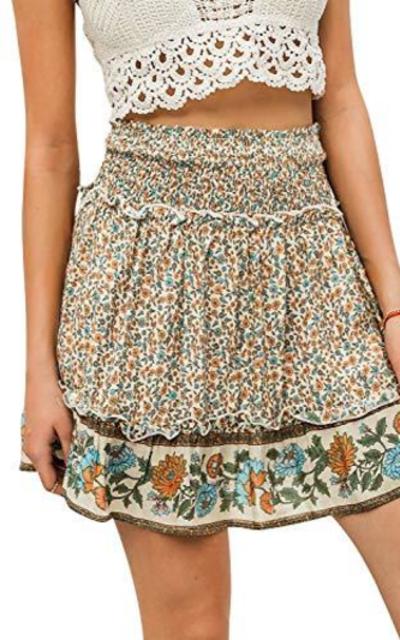 Zandiceno Boho Floral Print A-line Mini Skirt
