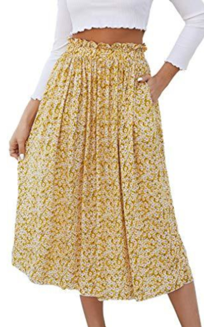Naggoo High Waist Midi Skirt