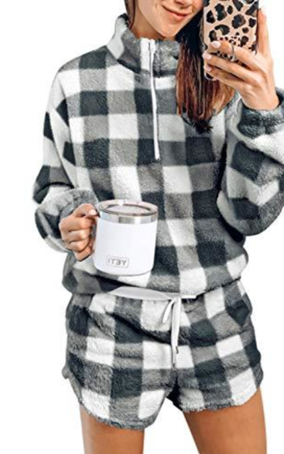 LookbookStore Comfy Long Sleeve Fleece Lounge Set
