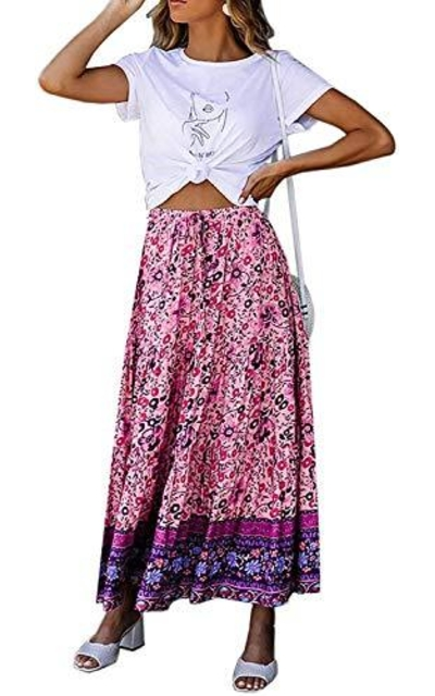 ForeMode Floral Maxi Skirt
