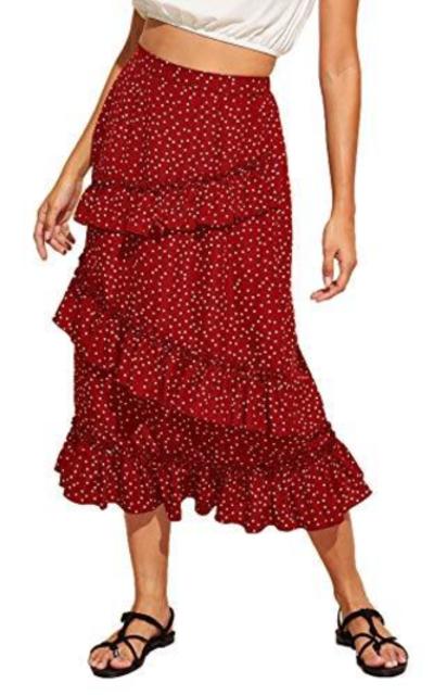 MAKEMECHIC Polka Dot Tiered Elastic Waist Midi Skirt