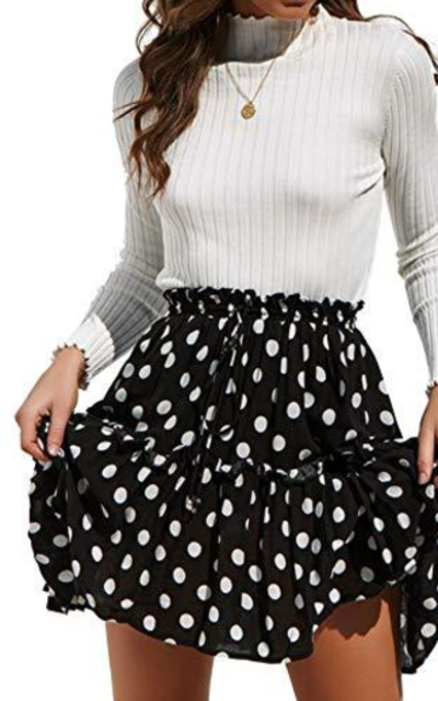 Relipop Polka Dot Pleated Mini Skirt with Drawstring