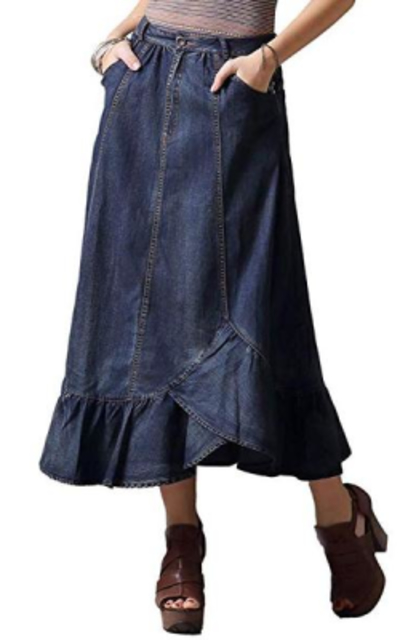 MEINO Denim Long Skirt