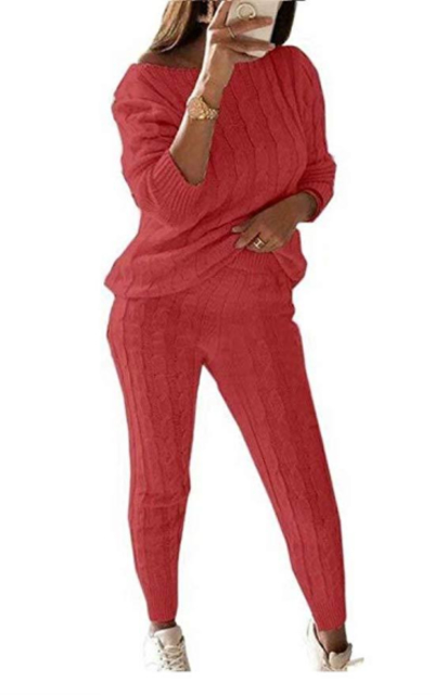 LKOUS 2 Piece Knit Pullover Sweater Top and Pant