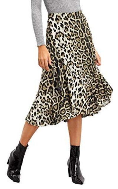 WDIRARA Leopard Print Ruffle Midi Skirt