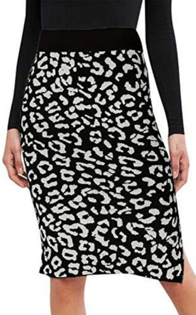 Fargeous Leopard Stretch Knit Midi Pencil Skirt