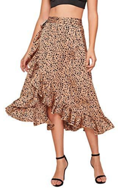 SheIn Leopard Print Tie Side Split Wrap Satin Skirt