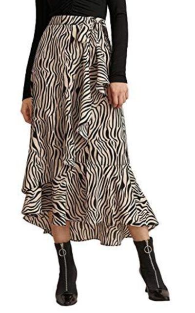 WDIRARA Ruffle Trim Zebra Wrap