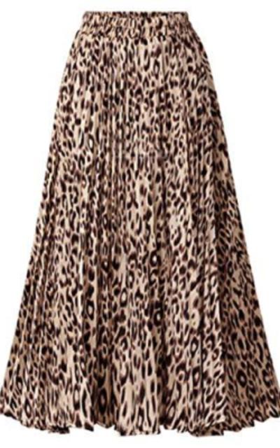 Chartou Leopard Print Pleated Midi Skirt