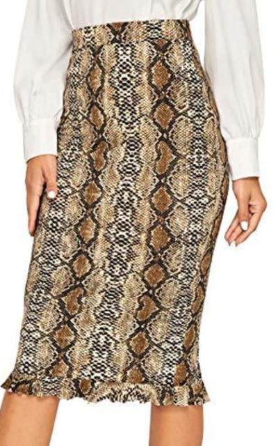 Verdusa Snakeskin Print Ruffled Hem Skirt