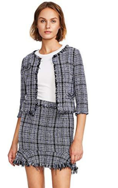 MAKEMECHIC Frayed Tweed Blazer and Skirt Set