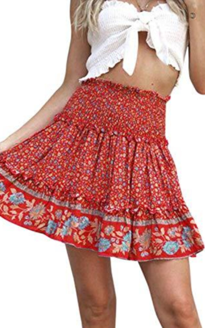 BerryGo Boho Floral High Waist Ruffle A-line Mini Skirt
