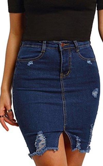 MakeMeChic Basic Casual Ripped Pocket Short Mini Denim Skirt