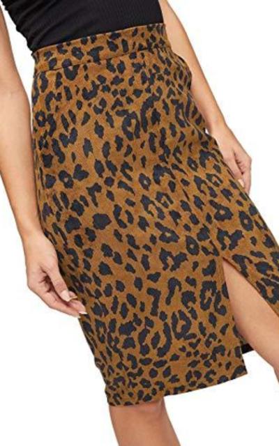 WDIRARA Leopard Print Split Pencil Skirt