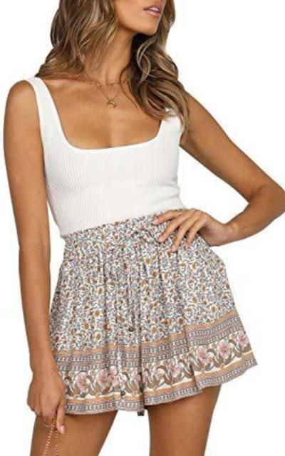 Sollinarry Boho Floral Print Elastic Waist Beach Shorts