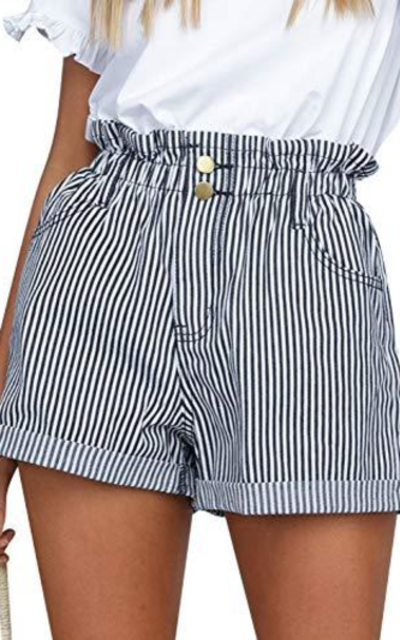 Simplee High Waisted Elastic Striped Shorts