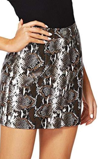 MAKEMECHIC Snake Skin Print Mini Skirt