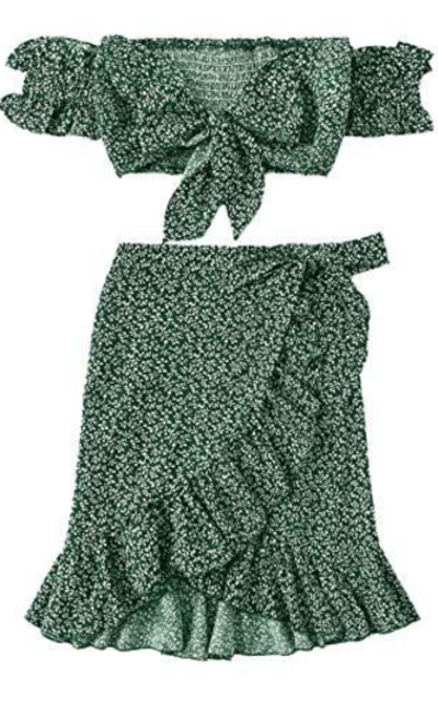 MakeMeChic Two Piece Floral Knot Shirred Bardot Top and Ruffle Wrap Skirt Set