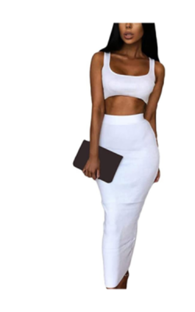 Velius Scoop Neck Bodycon Two Piece  Outfit