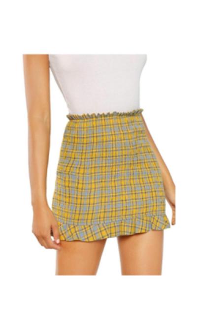 WDIRARA Ruffle Hem Mini Skirt