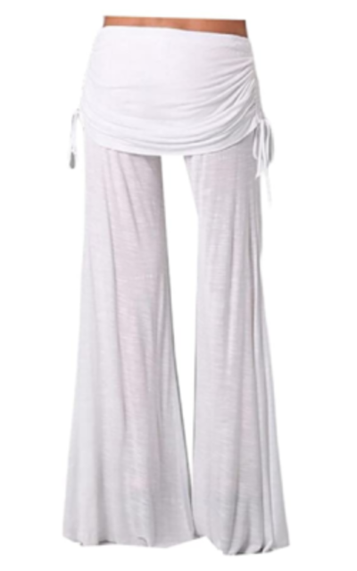 Ruched Drawstring Wide Leg Pants