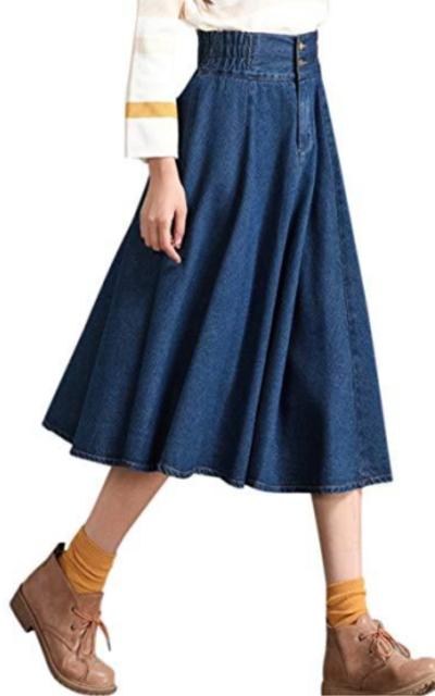 Tanming  Elastic Waist A-Line Denim Skirt