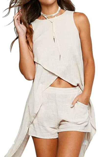Two Piece Outfit Crop Top and Short Pants Set