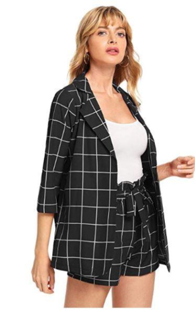 SheIn 2 Pieces Plaid  Blazers and Shorts Set