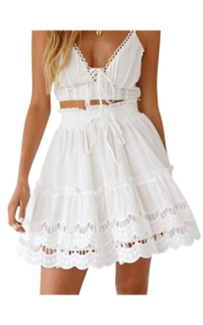 BerryGo Ruffle Flared Skirt