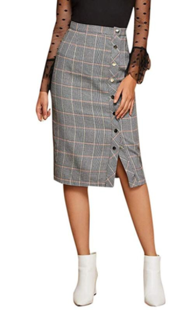 WDIRARA A-Line Button High Waisted Plaid Midi Skirt