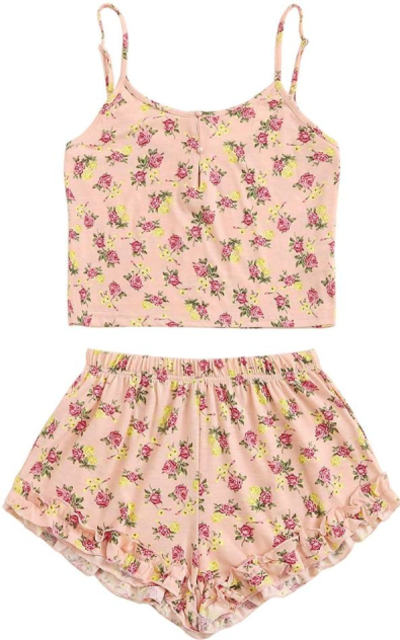 SheIn Floral Print Cami Crop Top and Shorts Pajamas Set
