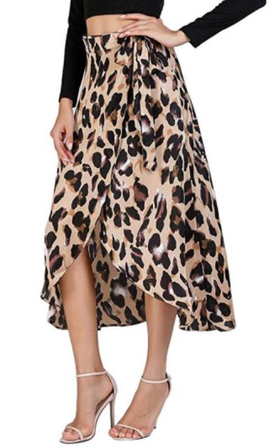 Verdusa  Leopard Print High Waist Wrap Split Skirt