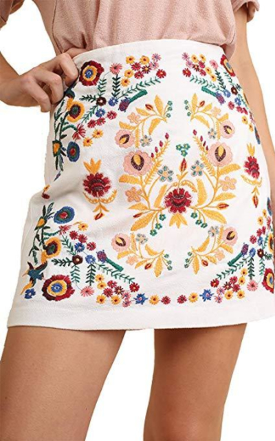 Umgee That's My Girl!Embroidered Mini Skirt